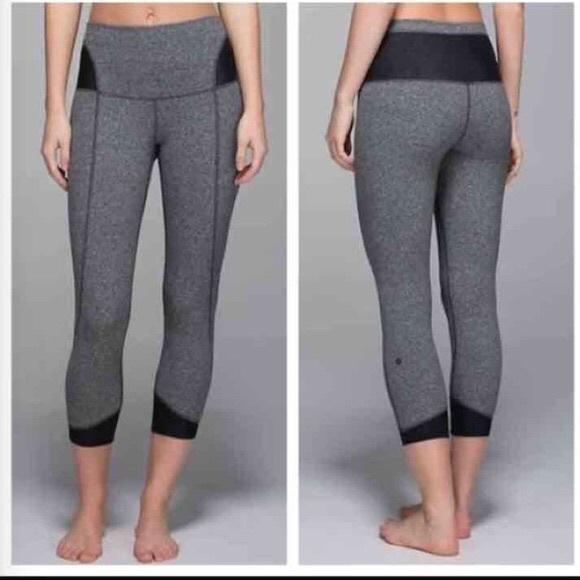 6b47075d254c27 lululemon athletica Pants - Lululemon Devi high waist Crops with mesh 6